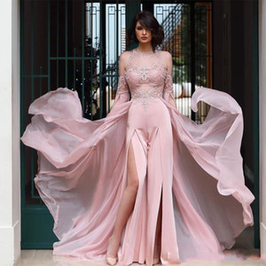 2020 Sexy Pant Suit Split Sides Prom Dresses with Chiffon Overskirts Lace Applique Sheer Neck Jumpsuit Evening Dress