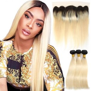 Ombre 1B 613 Blonde Cambodian 8A Remy Hair Extensions Straight Bundles With Frontal Human Hair 3 Bundles with 13x4 Lace Frontal Closure