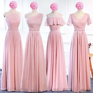 Brautjungfer Lange 2020 New Korean eine Schulter Partei DressBridesmaid Gruppe Schwester Kleid rosa Kleid Brautjungfer