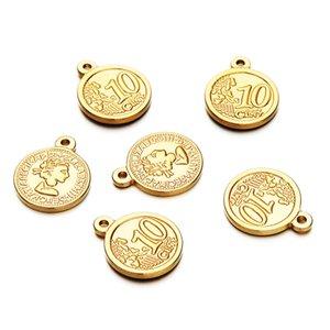 10 PCS / lotes da forma do aço inoxidável Coin encantos da beleza do retrato cabeça Fit Diy Pulseira Brinco Colar Pingente Handmade Crafts Jóias tomada