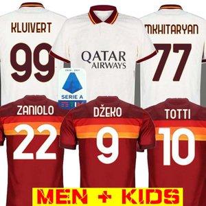AS ROMA DE ROSSI DZEKO Fútbol ZANIOLO roma TOTTI PEROTTI KOLAROV 20 21 camiseta de fútbol 2020 2021 Men + niños uniforma el maillot