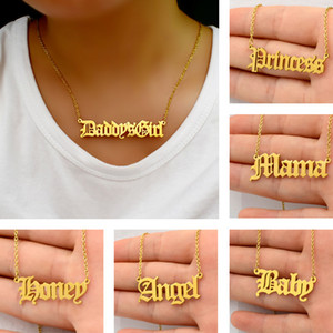 hot sale fashion women 316L stainless steel ancient letter pendant necklace babygirl angle priness brat alphabet chain necklace jewelry gift