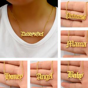 heißen Verkauf Art und Weise Frauen Edelstahl 316L alter Brief Halskette Babygirl Winkel priness Brat Alphabet Halskette Schmuck Geschenk