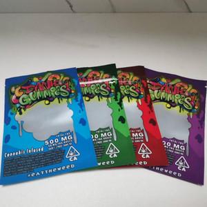 Dank Gummies Mylar Tasche Edibles Einzelhandel Zip Sperre Verpackung Worms 500MG Bären Würfel Gummy für trockene Kräuter Tabak Blume Vape