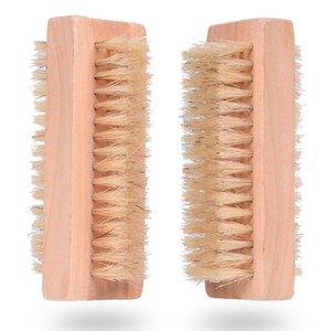 Дерево Nail Brush Двухсторонней Natural Кабан щетина деревянной Manicure Nail Brush SPA Двойных поверхности кисти руки очищающих Кисти 10CM DWD595