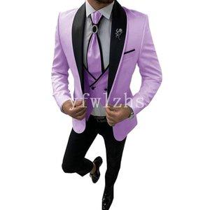 New Style One Button Handsome Shawl Lapel Groom Tuxedos Men Suits Wedding Prom Dinner Best Man Blazer(Jacket+Pants+Tie+Vest) W233