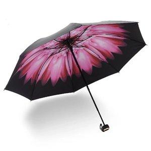 New Umbrella Rain Women MINI Windproof Three Folding Umbrella UV Protect Parasol Pocket Umbrellas YKbC#