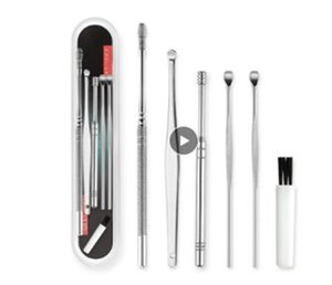 6pcs / set cérumen Pickers en acier inoxydable Earpick Décireur curette Ear Pick-Cleaner cuillère Soins CleanTool