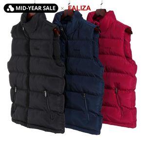 FALIZA 6XL New Winter Mens Jackets Sleeveles Vest Male Warm Down Vest Casual Waistcoat Men Thicken Outerwears Chalecos MJ106