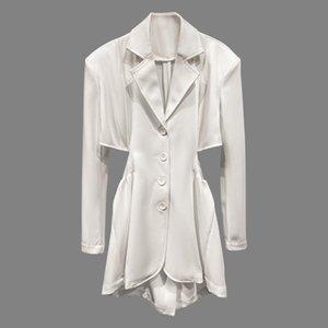 WOMENGAGA Fashionable Sexy cintura elástica plissadas fina ombro Single-breasted Blazer sólida Collar Notched B393 Casual