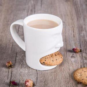 Coupes en céramique avec Biscuit Shelf Visage trempent Cookies mugs à café de stockage pour les cadeaux de dessert en céramique de biscuit Tasse DHC277