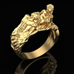 18k Gold Plated Wonderful Girl Carved Ring Lady Fashion Engagement Party Jewelry Gift Size 6- 10
