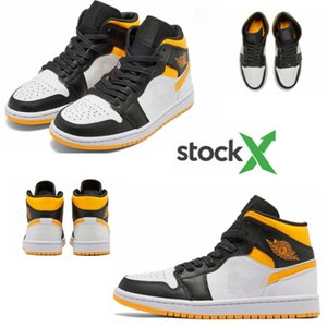 2020 new fashionable 1 Mid SE Black-yellow basketball shoes CV5276-107 casual sneakers shoes high quality size 36-46
