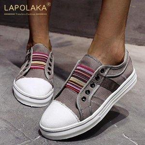 Lapolaka 2020 Yeni Gelenler Büyük Beden 43 Flats Kadın Ayakkabı Lace Up Platformu Rahat INS Sıcak Wholesalr Flats Kadın ayakkabı