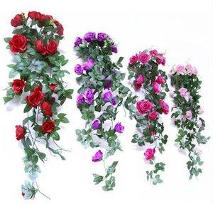 Kunstseide-Rosen Rattan-Fälschungs-Rose Wandbehang Garland Rebe-Hochzeit Startseite dekorative Blumen String Garten Hänge Garland DHC168