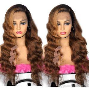 Длинные Синтетические парики фронта шнурка Ombre Brown высокой плотности жаропрочных Волнистые 360 шнурка полный парик для Black / White Женщины Cosplay / партии