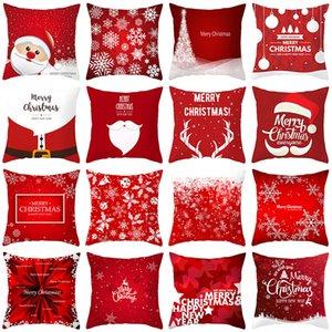 산타 클로스 엘크 눈송이 시리즈 베개 레드 메리 크리스마스 소파 베개 케이스 크리스마스 새해 베개 커버 (40) 패턴을 던져