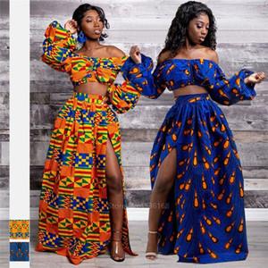 African Dresses for Women Ladies Full Sleeve Shoulder Off Festher Dashiki Print Split Skirts Autumn Africna Clothes S155