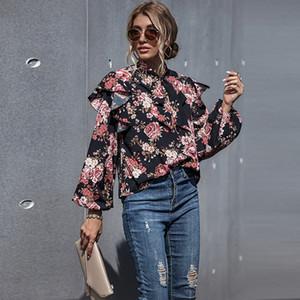 Женские толстовки толстовки 2021 летние женщины пуловеры толстовки толстовка бабочка воротник с длинным рукавом свободные причинно-следственные одежда верхушка весенние цветочные