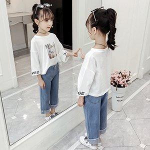 SCRfu 2019 occasionnels costume filles de costume pour enfants pantalon enfants Pantalons Jeans Pantalons Automne New-longueur de la cheville fixés filles moyennes et grandes enfants
