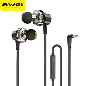 AWEI Z1 Wired Dual Driver Earphone Headset Sport Stero Bass Sound Earphones With Microphone 3.5mm Jack Earbuds For Phones Mp3