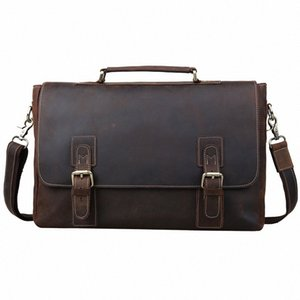 Pastas Homens 16 Laptop Bag Grande Couro Vintage Leather Satchel Messenger Bags Bolsa de Ombro Brown 8069 DVI3 #