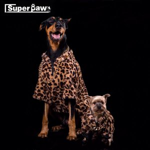 Fashion Dog Leopard Print Coat Free Necklace Warm Clothes Jacket Pet Puppy Hoodie for Small Medium Large Dogs In Winter TLC06 T200710
