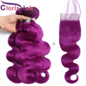 Pre Plucked Hairline Lace Closures With Bundles Purple Human Hair Malaysian Virgin Weave 3 Bundles With Closure Body Wave Colored Extensions