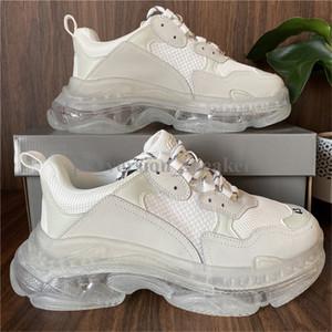 2020 Paris Günlük Ayakkabılar Üçlü S Temizle Sole Eğitmenler Baba Ayakkabı Sneaker Siyah Gümüş Kristal Alt Womens Üstün Kalite Chaussures