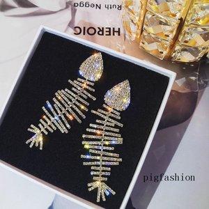 Yaratıcılık Parlayan Fishbone Küpe Eğlenceli Kız Parti Uzun Stil Küpe Kristal Rhinestone Moda Dangle Avize Küpe