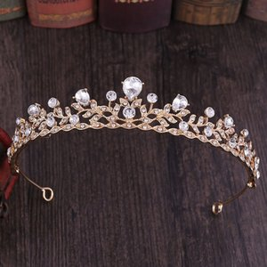 Hot Sale Gold Silver Color Leaves Shape Crystal Tiara Hair Bands Princess Bridal Bride Noiva Wedding Party Crown Headwear