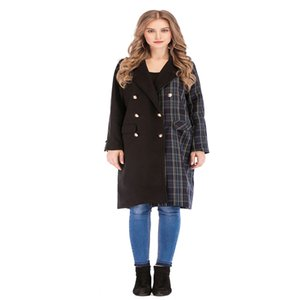 2020 New Autumn Winter Women Woolen coat Fashion Grid pattern Stitching Lapel Button Slim Pocket All-match Ladies Tops High-end