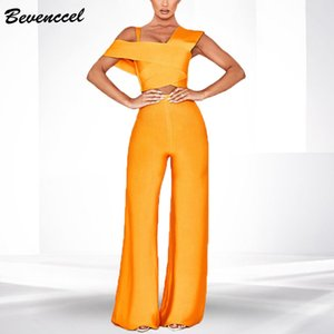 High Quality Two Piece Sets Rompers Womens Jumpsuit 2020 Sexy One Shoulder Bodycon Bandage Jumpsuit Elegant Overalls for Women