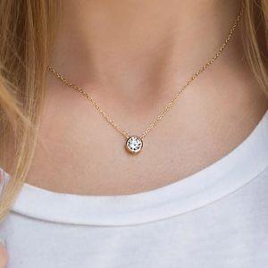 Brillante Círculo CZ Collares colgante para las mujeres simple clásica redonda collar de cristal de joyería Gargantilla Collar llamativo manera del Zircon cúbico