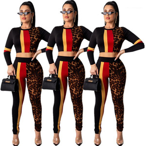 Autumn Outfits Pants Set Leopard Striped Printed Crew Neck Suits Womens 2020 Luxury Designer Clothes Women Two Piece