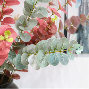 3D colors Eucalyptus Leaves Artificial flower Leaves 3 branch Tropical Plant office home wedding Plants Garden Home Office Decoration