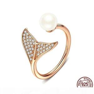 S925 Sterling Silver Pearl Rings redimensionnable sirène queue Zircon et Crystal Rings design de luxe pour les filles de femmes
