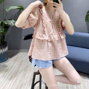 nuova maglia 20 di estate fresca stile semplice coreano balze allentato sottile di cotone lavato plaid camicia a maniche Y621