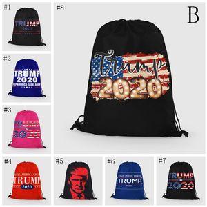 Trump Draws Rope Bags 24 Styles Storage Bag 2020 US Presidential Election Trump Campaign Pattern Shopping Bag Beach Bag EEA1851