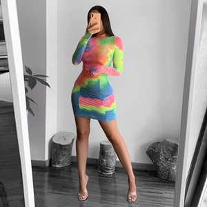 Donne sexy Bodycon manica lunga stampa tie-dye ha increspato i vestiti elegante femmina increspato Mini Tye Dye Dress Plus Size