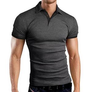 Erkek Gömlek İnce Casual Nefes Katı Renk İş Shirt Yeni Yaz Kısa Kollu Yaka Turn-over 2020
