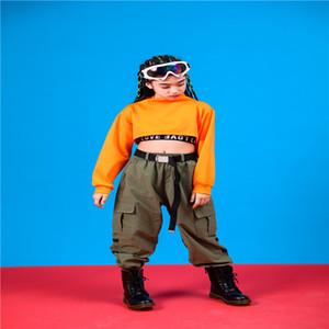 Дети Танцевальные костюмы для Crop Джаз с длинным рукавом Брюки Hip Hop Одежда Девочки Бальные Stage Street Dance Performance Wear