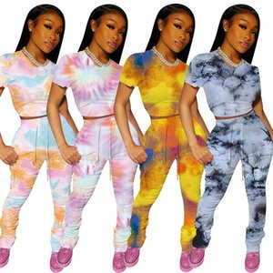 2pcs Tshirt Long Pants Skinny Stacked Suits Summer Printed Tie-dyed Casual Tracksuits Female Clothing Women Designer