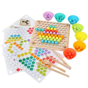 Kids Toy DIY 3d Puzzle Kids Early Montessori Hands Brain Training Clip Beads Multi-functional learning Wooden Toy For Children MX200414