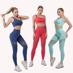 KHb8g ins Internet celebrity fitness suit single shoulder pullover pulloverYoga pants pullover sports jumper bra high waist hollow yoga pant