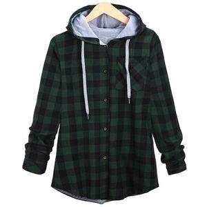 2018 Fashion Women's winter Sweatshirt Long Sleeve Plaid Hooded coat casual New Autumn warm Ladies Female Blouse 8.29 MX200613