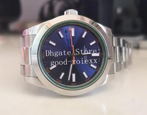 40мм Мужская Зеленый Кристалл стекла Автоматическая 2813 Движение BP Factory Blue Steel 116400 Perpetual Мужчины Сапфир Часы Часы платье Наручные часы