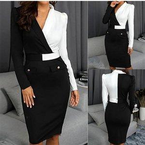 Осень женщин дизайнер Работа платье мини Sexy Contrast Color отворотом шеи Поддельный Карманы Карандаш платье OL Стиль женской одежды