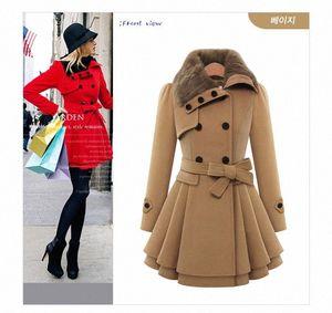 Damen Mode Schlanke A-Line Lange Mäntel Frau Wolle-Mischungen Oberbekleidung zweireihige Mantel-Winter-Warm-Frauen-Kleidung plus Größe M-4XL hknQ #