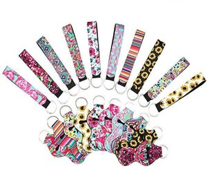 6 pcs Chapstick Holders with 6 pcs Keychains Neoprene Lipstick Protective Cases Cover Portable Balm Holders with